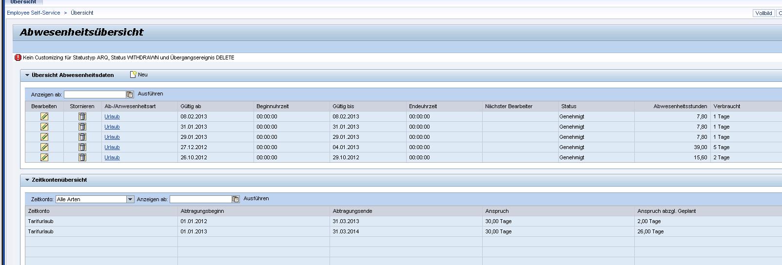 ESS Abwesenheitsantrag Fehlermeldung Statusübergang