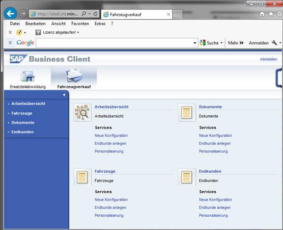 Startseite SAP Netweaver Business Client (NWBC)