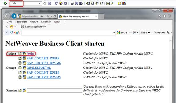 SAP NetWeaver Business Client Start Transaktion