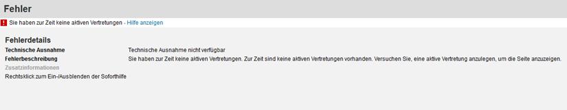 SAP Vertretungs-Service: Standartansicht
