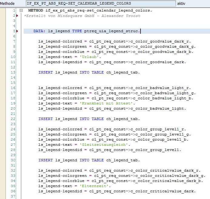 Methode SET_CALENDAR_LEGEND_COLORS
