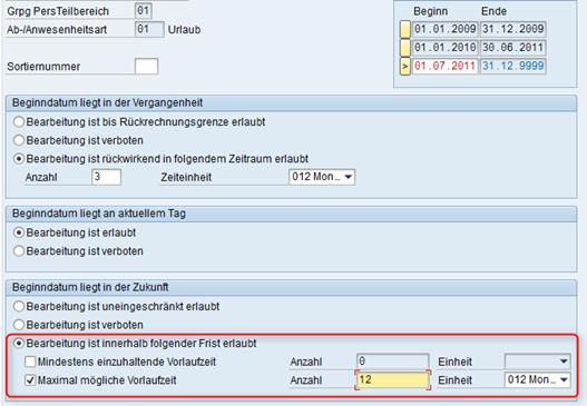 Anträge für morgen: Customizing der SAP Abwesenheitsanträge
