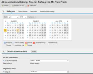 Kalender im Vertretungsservice