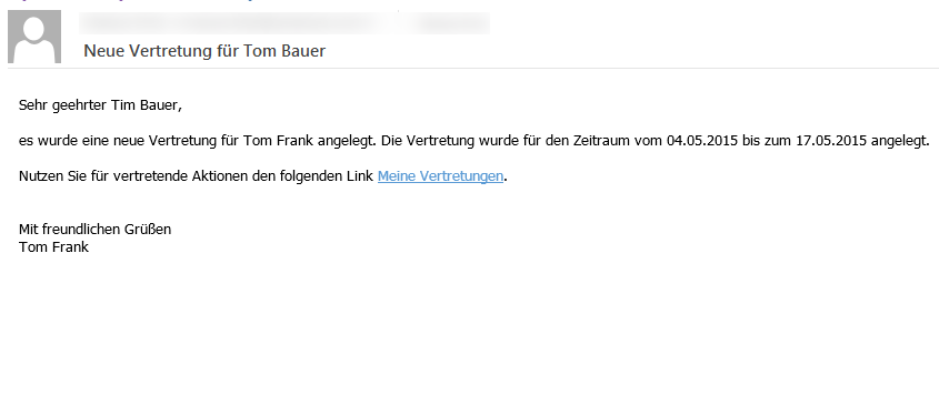 Emailtext bei Vertretung