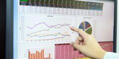 Businessman analyzing financial data on computer screen