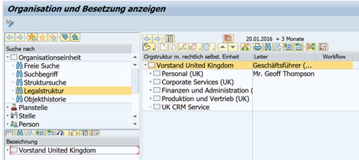 Beispiel: Besetzung im SAP Organisationsmanagement anzeigen