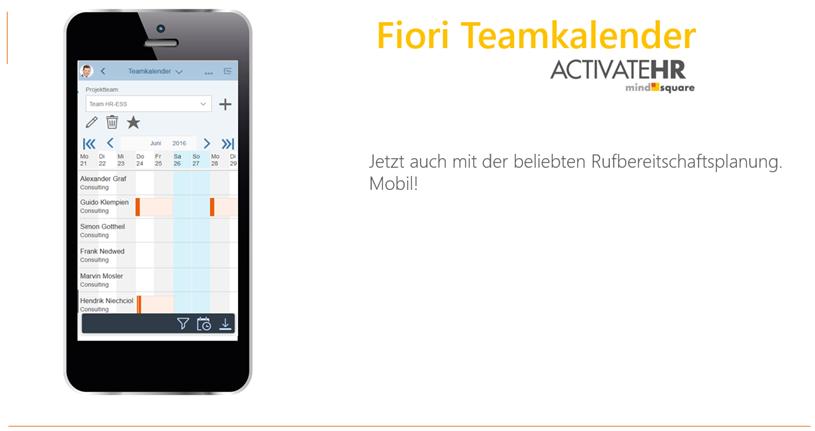 Rufbereitschaften planen mit dem Fiori Teamkalender von Activate-HR.