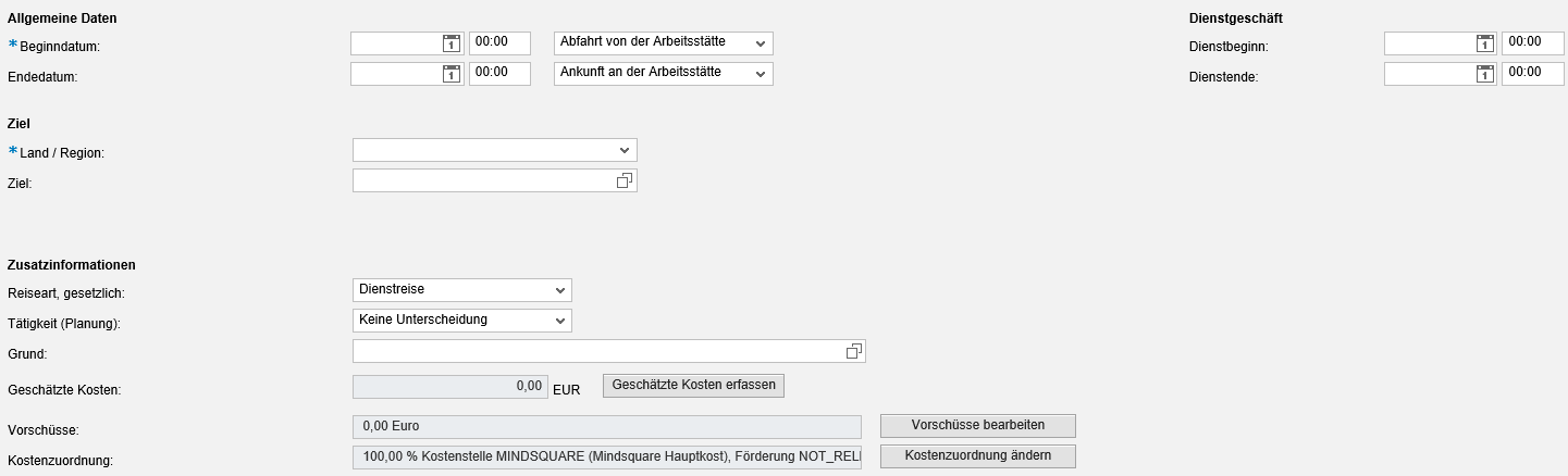 Kopfdaten des Antrags/der Reisekostenabrechnung