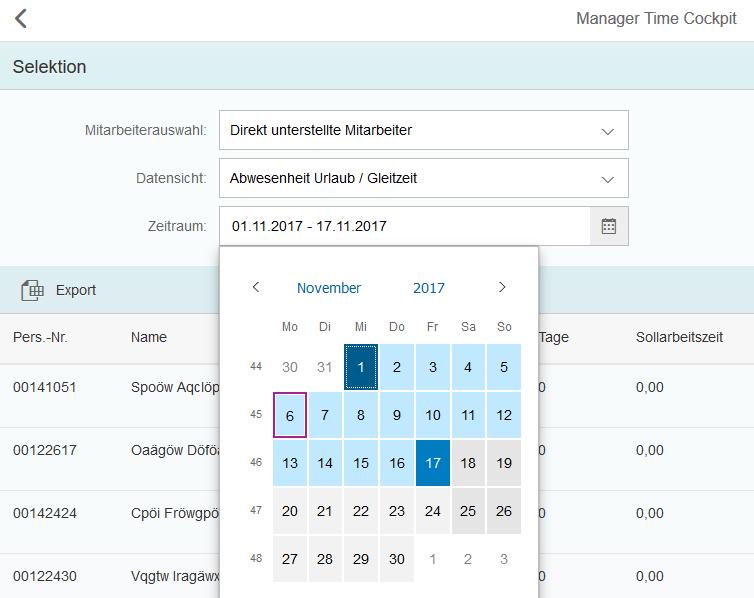 Manager Time Cockpit: Zeitraum auswählen