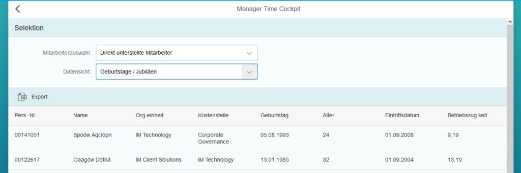 Manager Time Cockpit: Mitarbeiterdaten