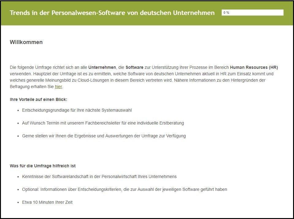 Umfrage HCM Software