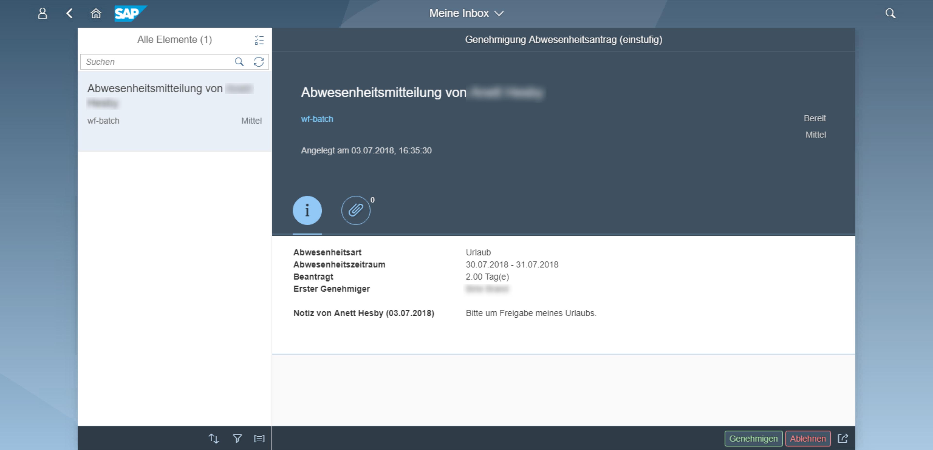 SAP Inbox mit Customizing-Elementen