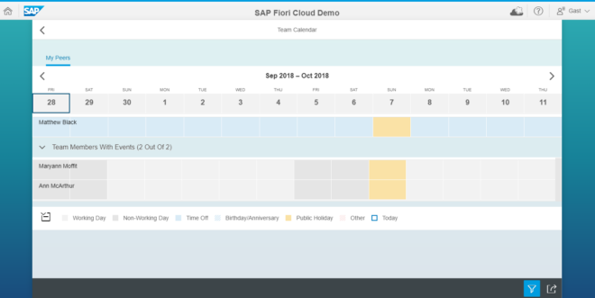 SAP Teamkalender Fiori