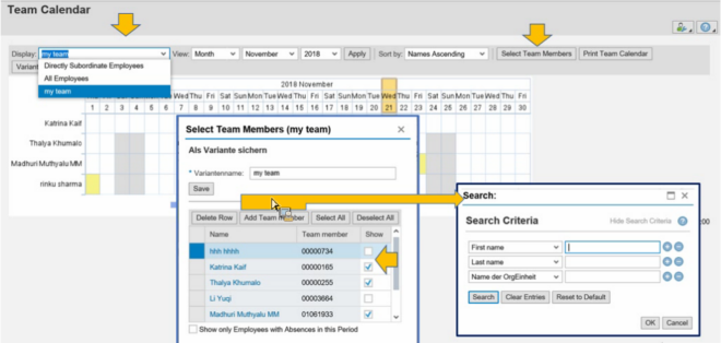SAP Webdynpro Teamkalender