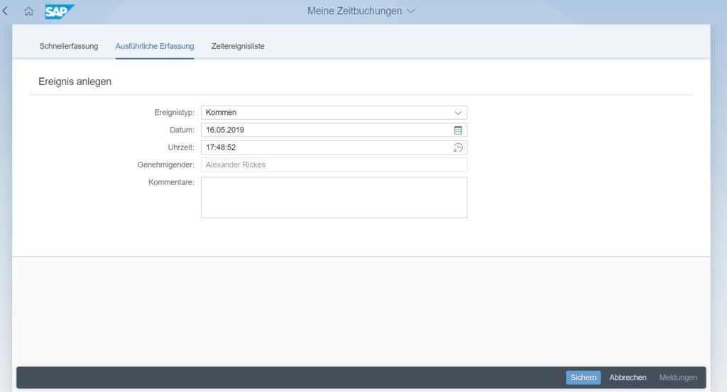 Zeitbuchungskorrektur in SAP Fiori