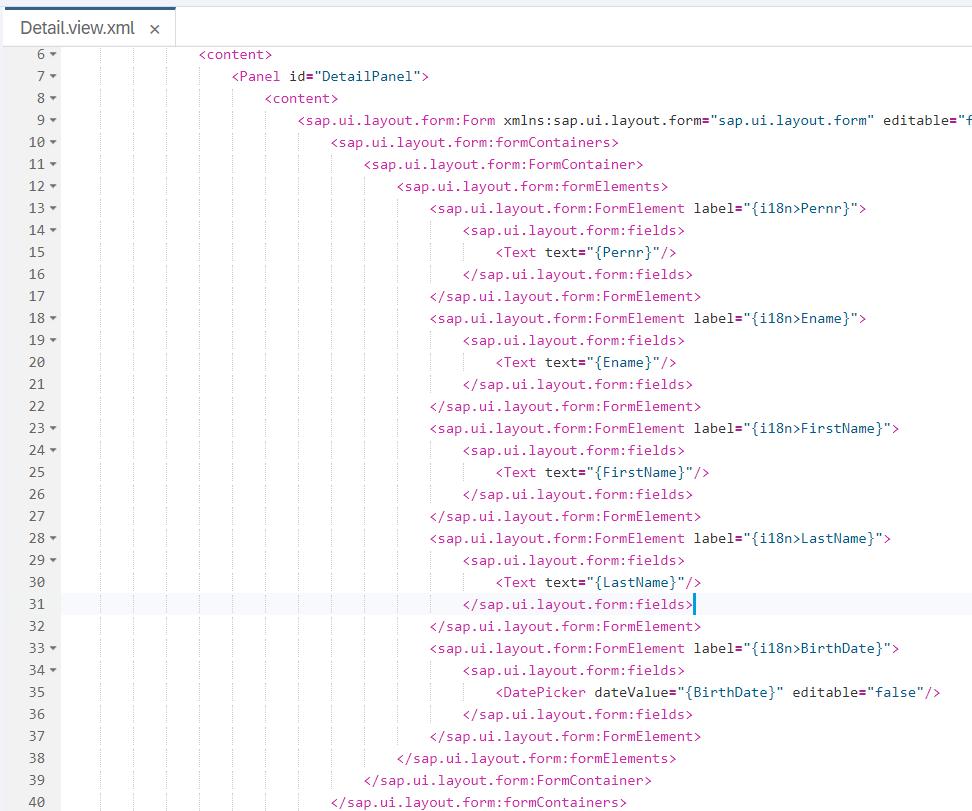 Data Binding Detail View