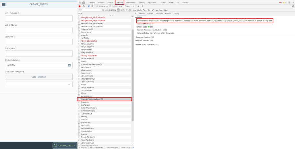 OData Network Backend Chrome Debugger