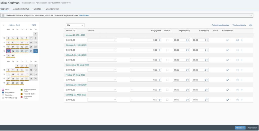 Zeiterfassung bei SAP mit Fiori