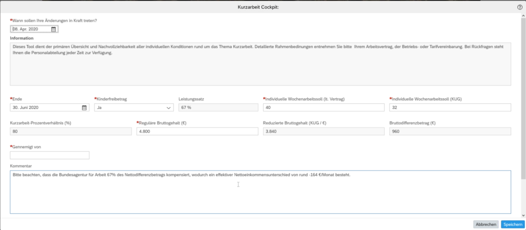 Kurzarbeit in SuccessFactors erfassen