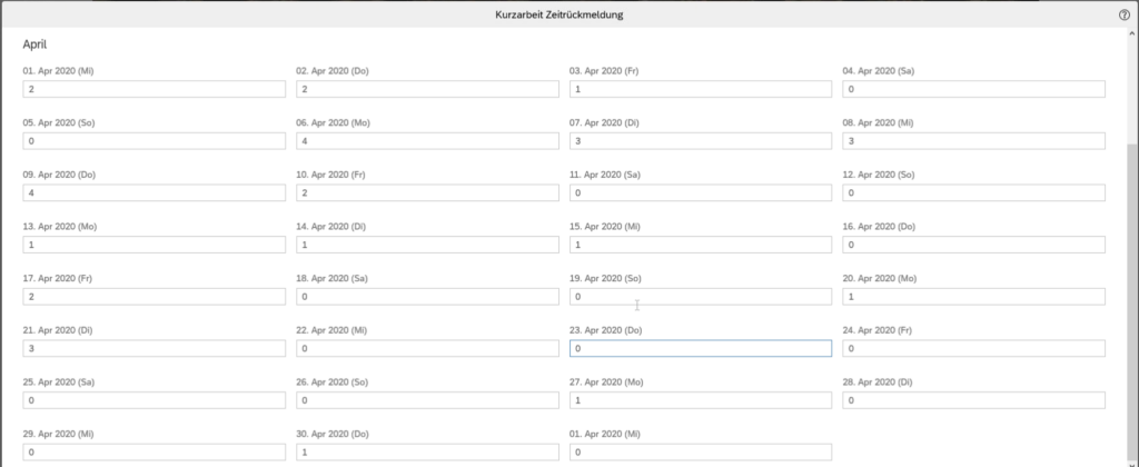 Kurzarbeit in SuccessFactors Zeiterfassung