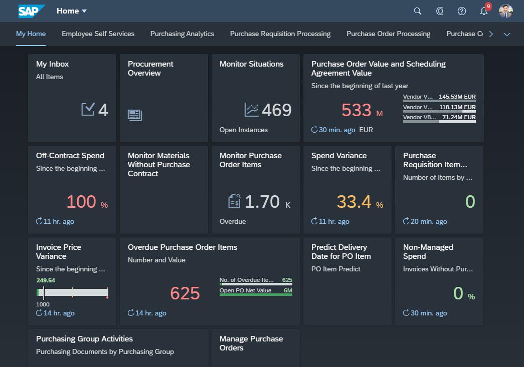 SAP Fiori Quartz Dark Theme