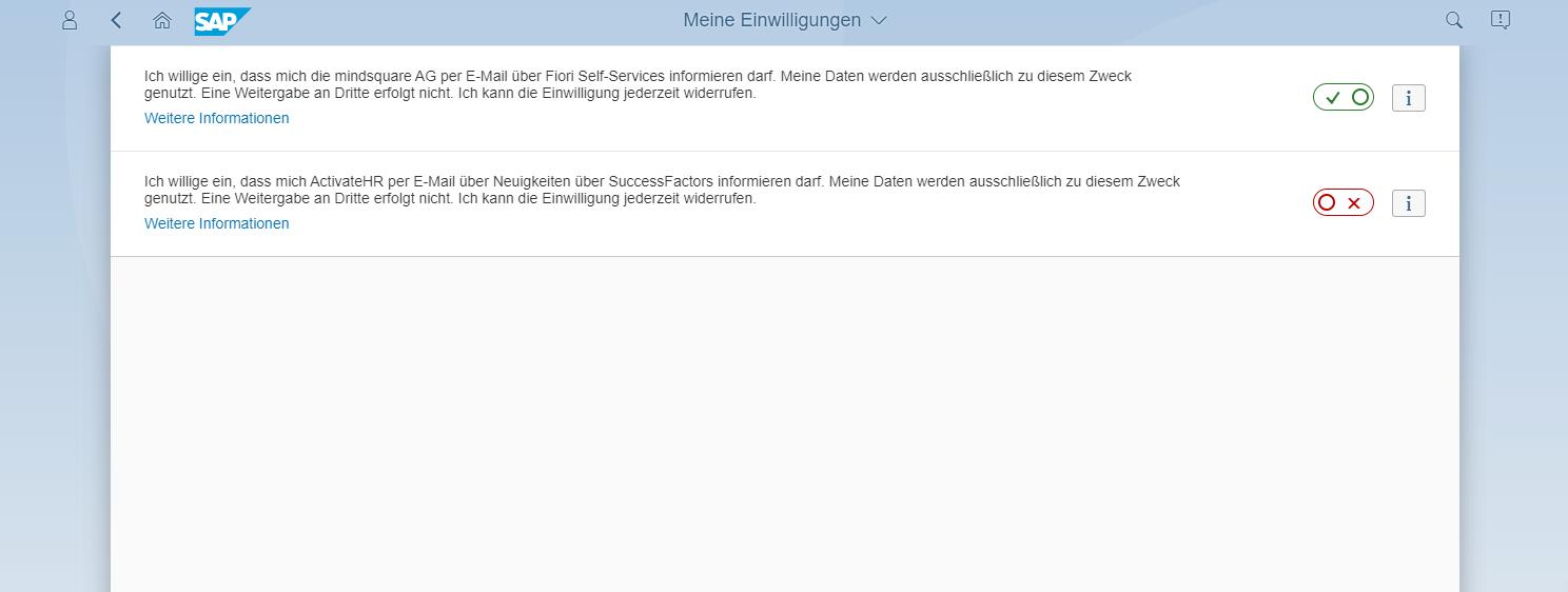 Einwilligungen in SAP Fiori